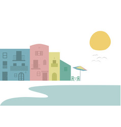 Multicolored houses next to the beach tables and vector