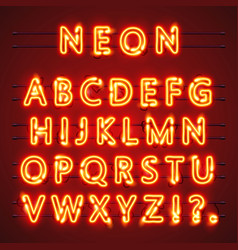 Neon font text lamp sign alphabet vector