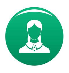 New female avatar icon green vector