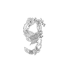 Number 9 floral ornament vector