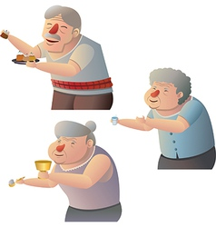 Old people give alms vector image