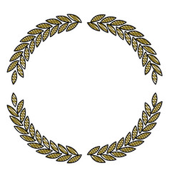 Olive branches forming circle in colored crayon vector
