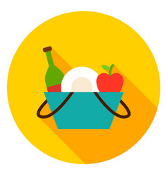 Picnic basket circle icon vector