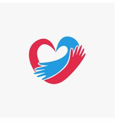romantic hug a heart logo icon template vector image