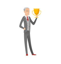 Senior caucasian businessman holding a trophy vector