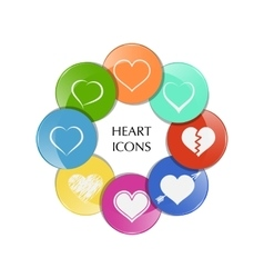 set heart icons vector image