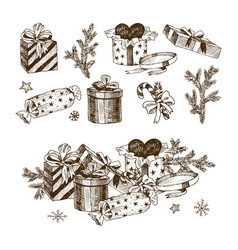 set of christmas gifts and fir branch gifts vector image