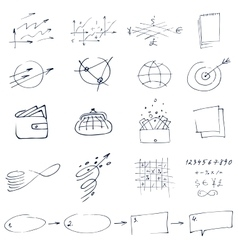 Set of graphic black and white hand-drawn elements vector image