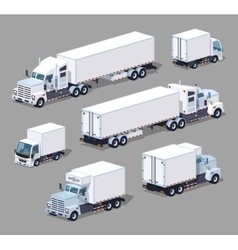 Set of the white low poly trucks vector image