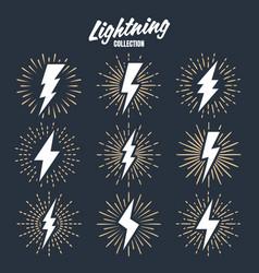 Set vintage lightning bolts and sunrays vector