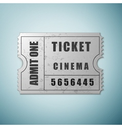 Silver cinema ticket icon isolated on blue vector