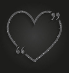 Silver sequin heart quote love valentine day vector