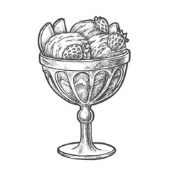 Sketch ice cream scoops in glass sundae bowl cup vector