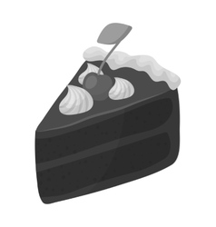 Slice of chocolate cake icon in monochrome style vector
