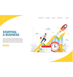 starting a business website landing page vector image
