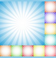 Sunburst starburst pattern set in 10 colors vector