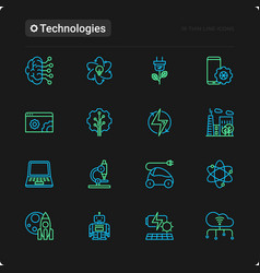 technologies thin line icons set vector image