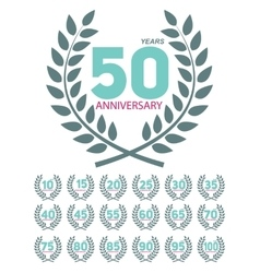 Template Anniversary in Laurel Wreath Set vector image