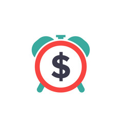 time dollar icon - time for money - flat vector image