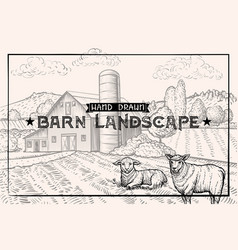 Vintage barn landscape and farm animals lamb and vector