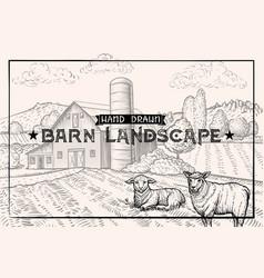 vintage barn landscape and farm animals lamb vector image