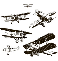 vintage biplanes set black old logo vector image