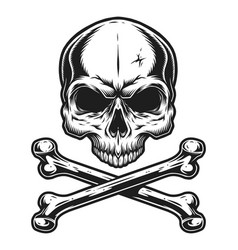 Vintage skull and crossbones monochrome template vector