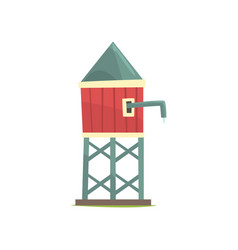 Water tower wooden farm building cartoon vector
