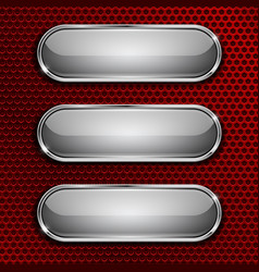 white oval glass buttons on red metal perforated vector image