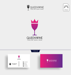 Wine kingdom queen elegant logo template vector