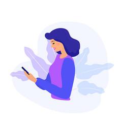 woman looking at phone and checking social vector image