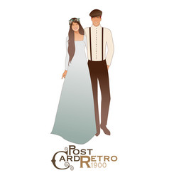Young couple newlyweds wearing wedding clothes vector