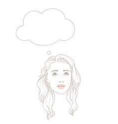 young woman looking up dreamily with thinking vector image