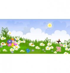 flower meadow panorama vector image