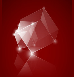 red glass cube background vector image
