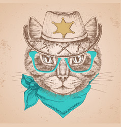 Retro hipster animal cat hand drawing muzzle vector