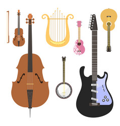 set of stringed musical instruments classical vector image vector image