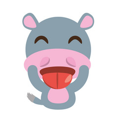 cute hippo animal character funny vector image vector image
