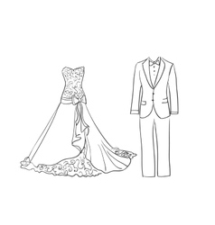 doodle wedding dress and suit vector image
