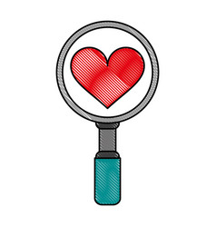 search heart flat scribble vector image vector image