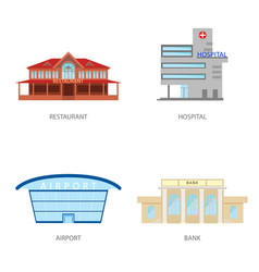 set of urban buildings in a flat style restaurant vector image