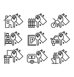 sharing economy set of various outline icons vector image vector image