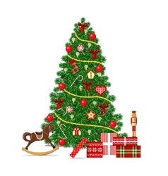 Beautiful decorated Xmas Tree isolated Christmas vector image vector image