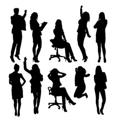 secretary woman activity silhouettes vector image