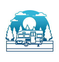 trailer home isolated in the forest between vector image