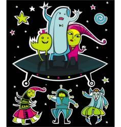ufo aliens vector image