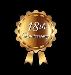 18th Anniversary gold medal vector image vector image