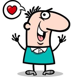 man in love cartoon vector image vector image
