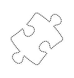 puzzle piece sign black dashed icon on vector image