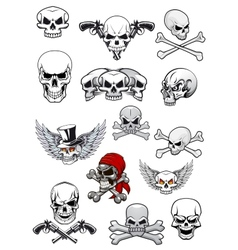 skull characters with crossbones vector image vector image